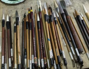 Brushes in use at studio of Wang Hui