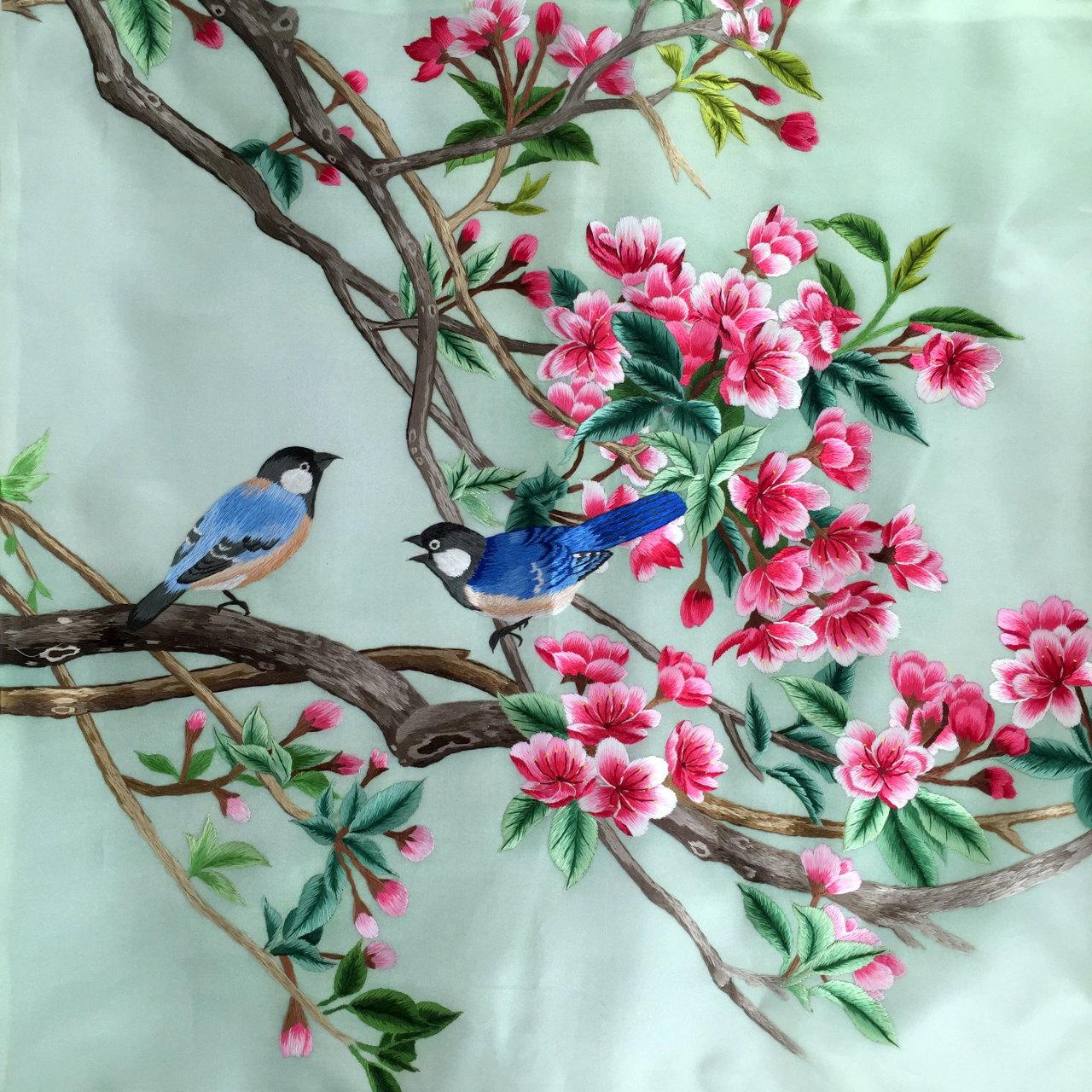 Silk Embroidery Cushion Cover - de €83.14 en Inkston