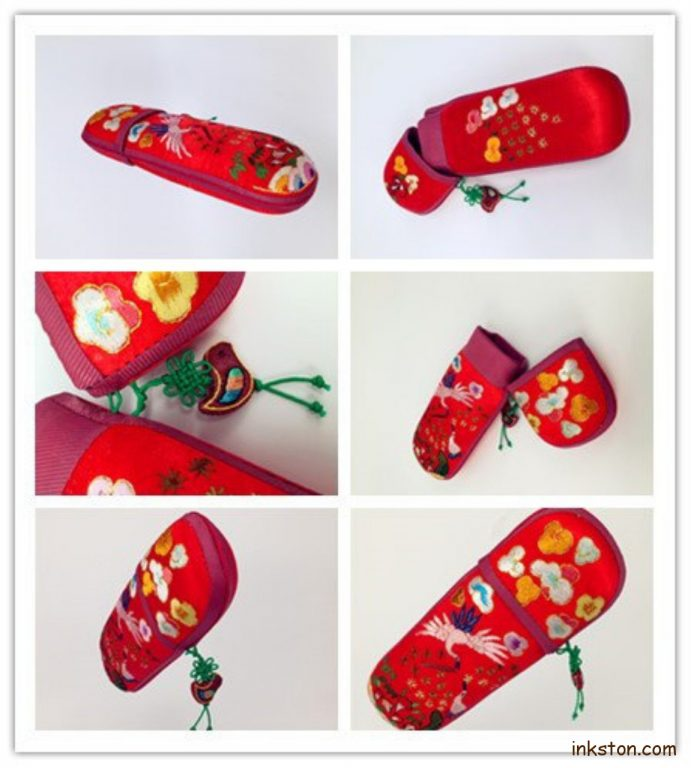 Silk Glasses Case red, collage