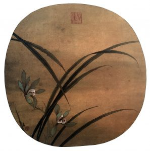 Autumn Orchids, 25.3 * 25.8 cm, painted on silk, Ano. Song Dynasty, 960 - 1279.