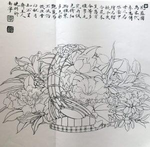 Basket of Flowers Sketch