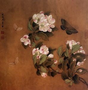 Begonia with Butterflies, 25 * 24.5 cm, painted on silk, Ano. Song Dynasty, 960 - 1279.