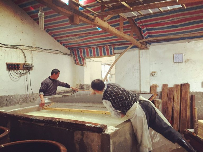 Making Big Xuan Paper by 2 Persons 3