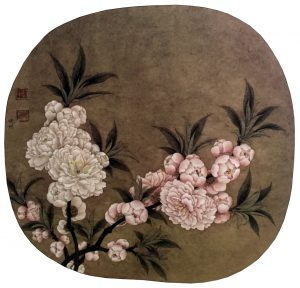 Peach Blossom, 24.8 * 27 cm, painted on silk, Ano. Song Dynasty, 960 - 1279.