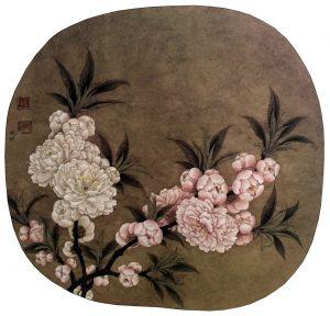Peach Blossom, 24.8 * 27 cm, painted on silk, Ano. Song Dynasty, 960 - 1279.