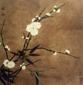 Prune Blossom with Bamboos, Ma Lin (?), Song Dynasty, 960 - 1279, painted on silk, 26.0 * 26.0 cm