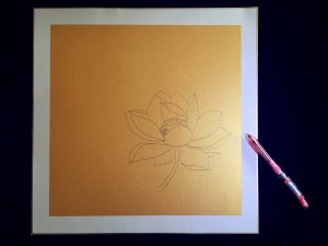 use pencil to draw the lotus outline