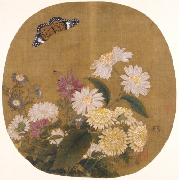 inkston Chrysanthemum Gongbi Painting South Song Dynasty Zhu ShaoZong