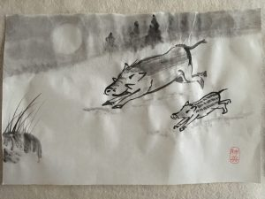 Wild boar with baby in sumi-e style made by Astrid Menick
