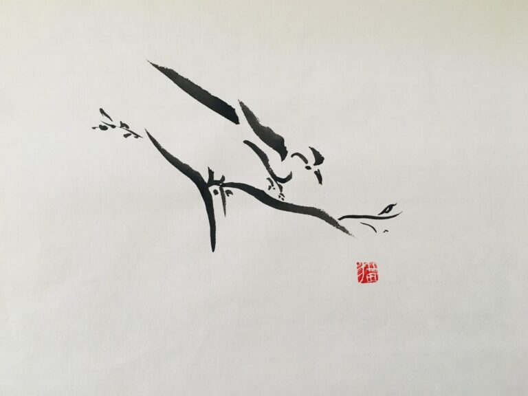 sumi e bird painting
