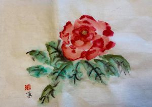 English Rose painted on xuan paper.