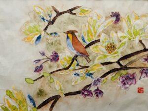Bird in blossom.