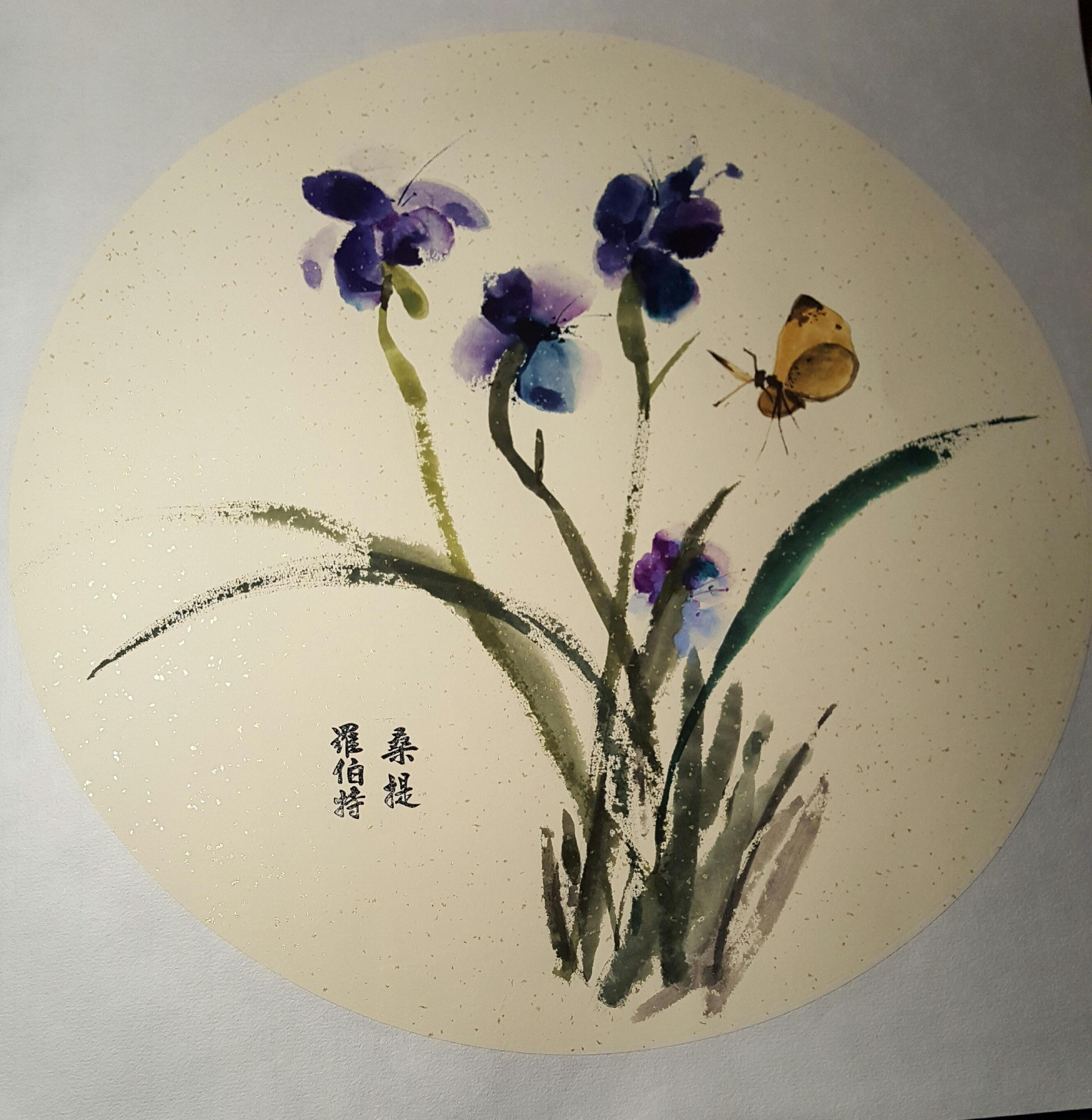 orchid done on circular matted Xuan.